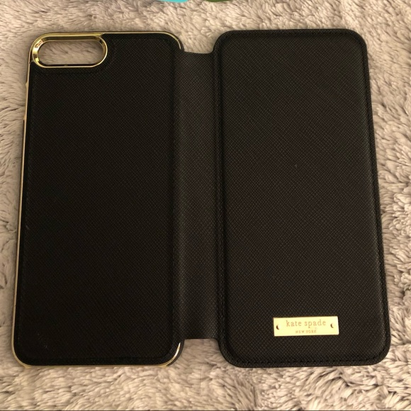 New Kate Spade iPhone7&8 Plus Folio Case, Black